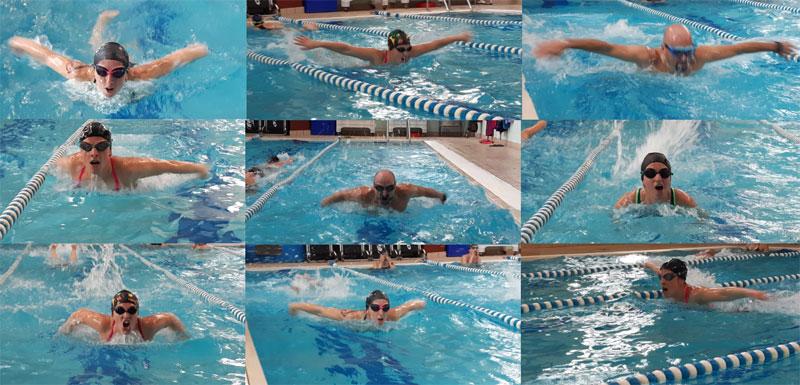 collage di foto di nuotatori che nuotano