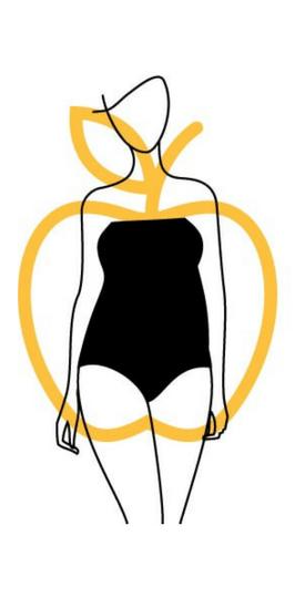 disegno di corpo di donna a forma di mela